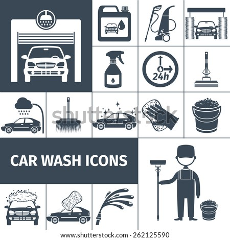 Touchless car wash tunnel with automatic high pressure rinse system black icons set abstract vector isolated illustration - stock vector