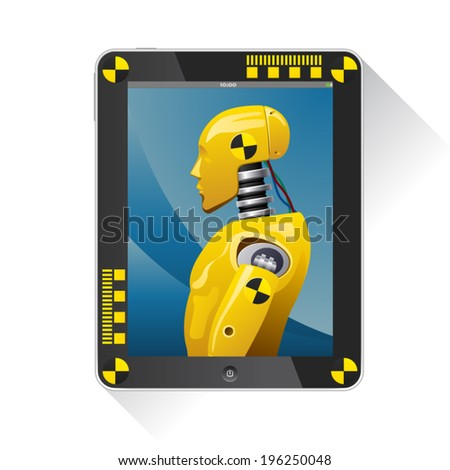 touchpad illustration with picture the crash test dummy inside. - stock vector