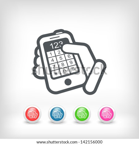Touchscreen button numbers - stock vector