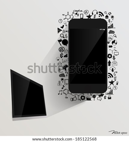 Touchscreen device and computer display with application icon. Vector illustration. - stock vector