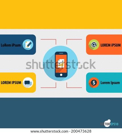 Touchscreen device. Vector illustration. - stock vector
