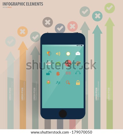 Touchscreen device with application icon and graph. Vector illustration. - stock vector
