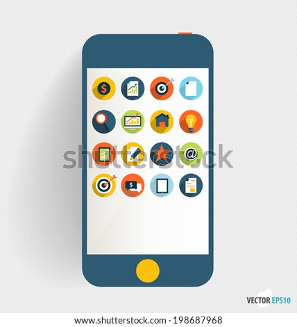 Touchscreen device with application icon, Business working elements for web design, seo optimizations, mobile applications, social networks. Modern Flat design vector illustration concept.  - stock vector