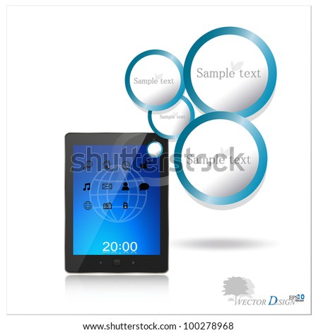 Touchscreen modern tablet pc. Vector illustration. - stock vector