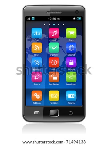 Touchscreen smartphone - stock vector