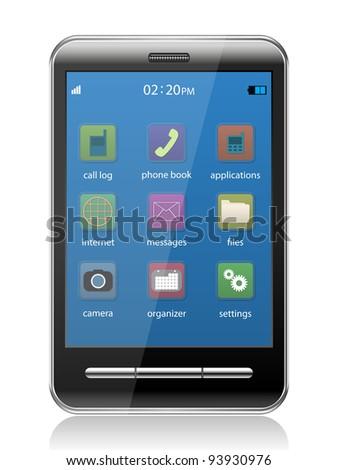 Touchscreen smartphone - stock vector
