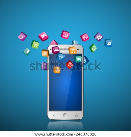 Touchscreen Smartphone with Application Icons. - stock vector