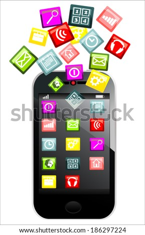Touchscreen smartphone with colorful application icons isolated on white background - stock vector