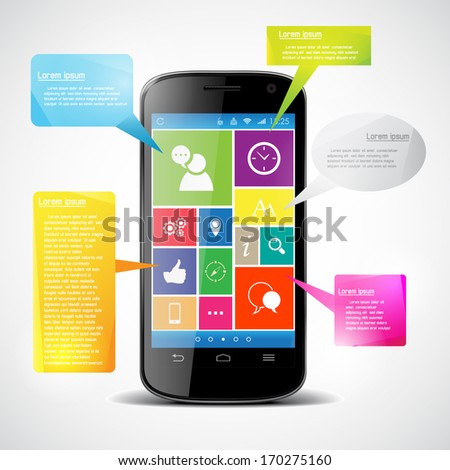 Touchscreen smartphone with colorful icons. Infographic. - stock vector