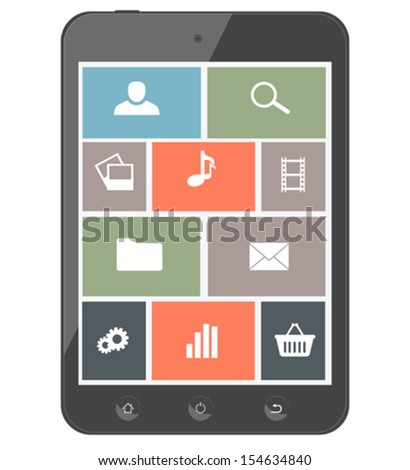 Touchscreen smartphone with icons. Design elements. Old style - stock vector