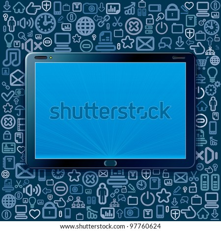 Touchscreen Tablet Computer with Cloud of Program and Web Icons. Vector Elements Separated - stock vector