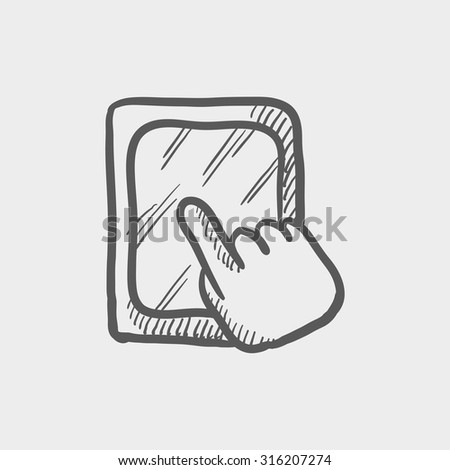 Touchscreen tablet sketch icon for web, mobile and infographics. Hand drawn vector dark grey icon isolated on light grey background. - stock vector