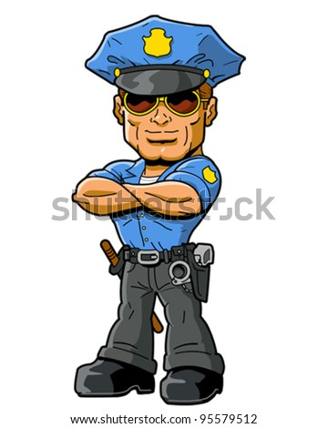 tough confident policeman with cool sunglasses and arms folded across chest