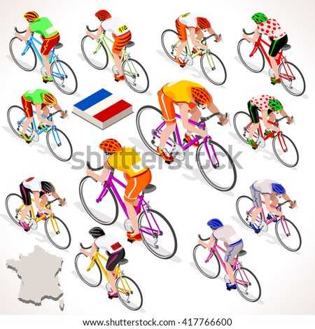 Tour de France. France racing cyclist riding bicycle path. Flat 3D isometric people set of cyclist vector icons. Isometric bicycle race Cycling icon. Winner Yellow Shirt. Winning Bicyclist Podium Goal - stock vector