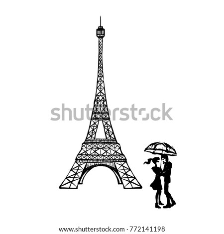 Connu Eiffel Tower Baguette Flag Vector Illustration Stock Vector  GO43