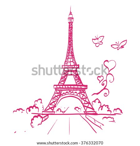 tour Eiffel romantic vector illustration heart frame drawing water color paints and crayons, crayon, paint drops background texture - stock vector