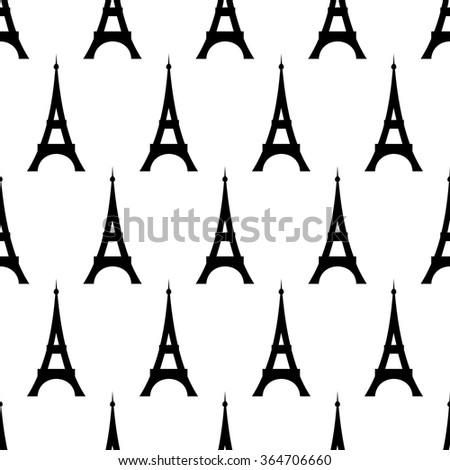 Tour Eiffel  seamless pattern. Cute cartoon tour Eiffel  vector illustration. Romantic travel in Paris. Paris symbol. - stock vector