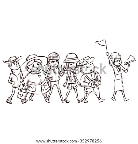 Tour Guide With Group Of Turists Hand Drawn Cartoon Vector Illustration