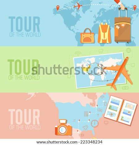 tour of the world seamless pattern concept. Tourism with fast travel on a flat design style. Vector illustration - stock vector