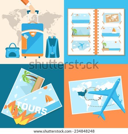 tour of the world seamless pattern concept. Tourism with fast travel on a flat design style. Vector web and mobile application illustrations - stock vector