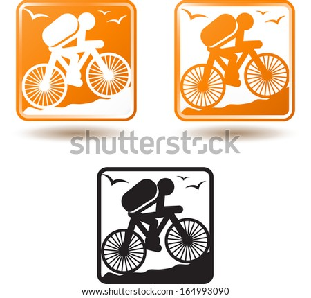 Tourism and active lifestyle, cycling - stock vector