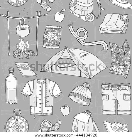 Tourism and the necessary things in the journey. Vector pattern. Grey, black, white.