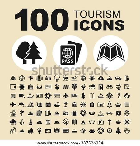 Tourism and travel icons. Summer pictogram. Holiday vector graphic.