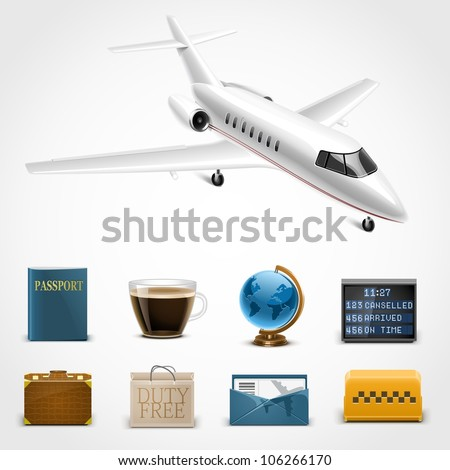 tourism and travelling vector icons - stock vector