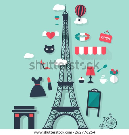 Tourism concept image.Holidays and vacation flat vector french icons  - stock vector