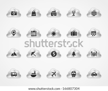 Tourism icons on metallic cloud buttons