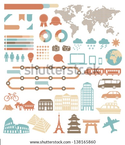 Tourism infographic set with colorful icons. Vector design elements - stock vector