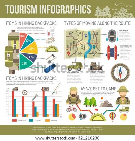 Tourism infographics set with hiking equipment symbols and charts vector illustration