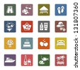 Tourism, Recreation & Vacation, icons set - Retro color version, vector illustration - stock photo