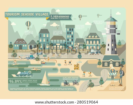 Tourism seaside village, Travel Infographic Elements - stock vector