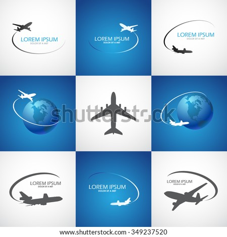 tourism symbol with airplane, vector image - stock vector