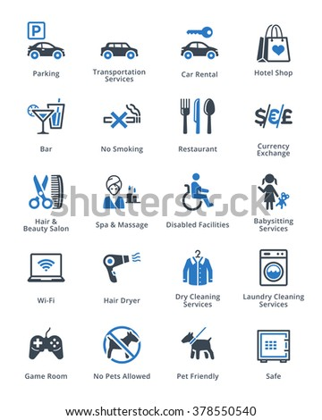 Tourism & Travel Icons Set 3 - Blue Series  - stock vector