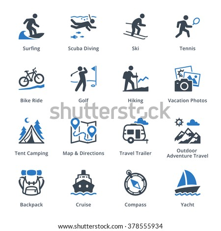 Tourism & Travel Icons Set 4 - Blue Series  - stock vector