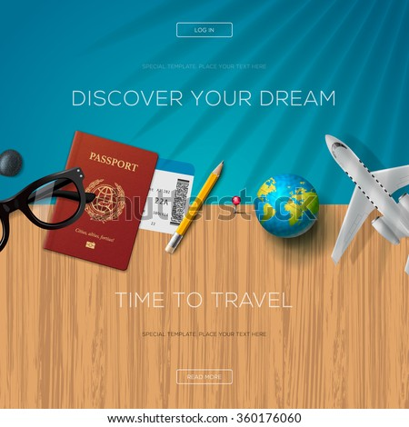 Tourism website template, time to travel - stock vector