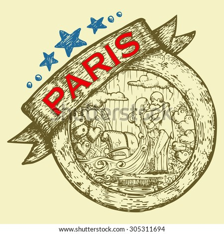 tourist and travel stamp symbol hand draw for Paris city France
