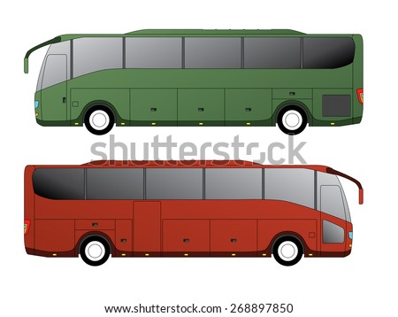 Tourist bus design with single axle in the back side view - stock vector