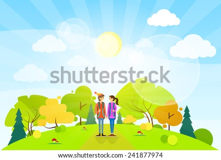 tourist couple with backpack over summer landscape mountain forest road flat design vector illustration - stock vector