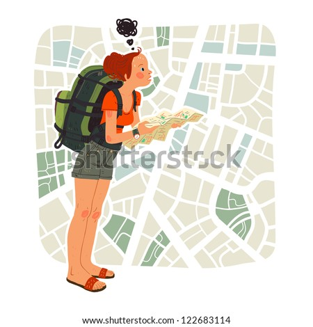 Tourist girl with map in the city - stock vector