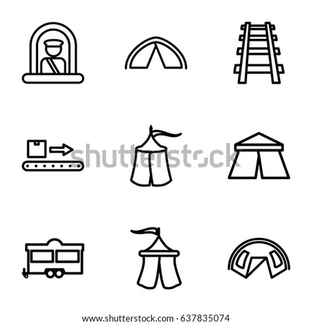 Tourist icons set. set of 9 tourist outline icons such as airport officer, tent, trailer, railway