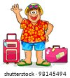 tourist in summer clothes ready to visit tropical destinations - stock vector
