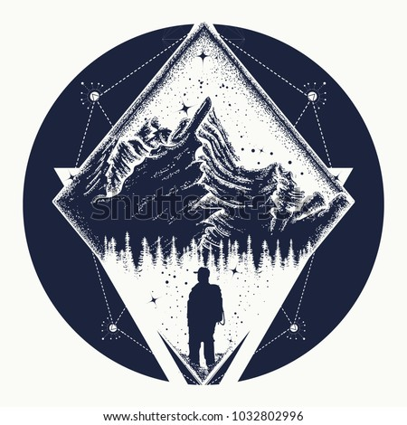 Tourist in the mountains t-shirt design. Symbol of climbing, camping, great outdoors, tourism, adventure, meditation. Mountain triangular style tattoo art