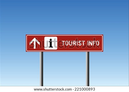 Tourist info direction up road sign with icon on brown background against blue sky in vector