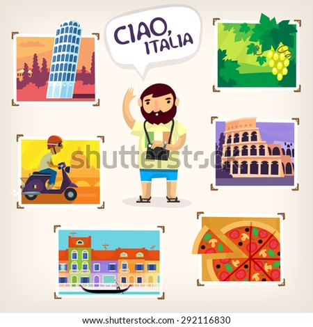 Tourist making pictures of famous Italian sights, beautiful nature and local cuisine - stock vector