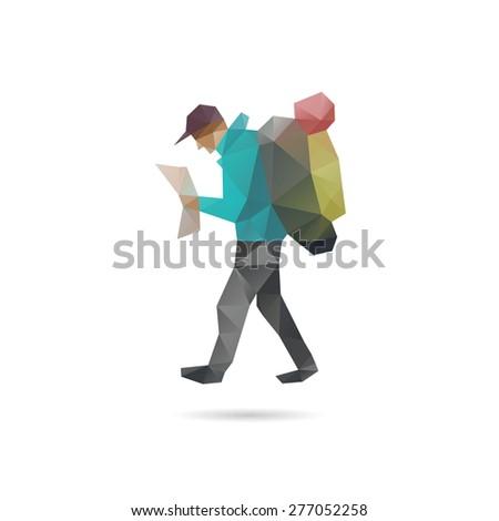 Tourist man silhouette abstract, vector illustration - stock vector