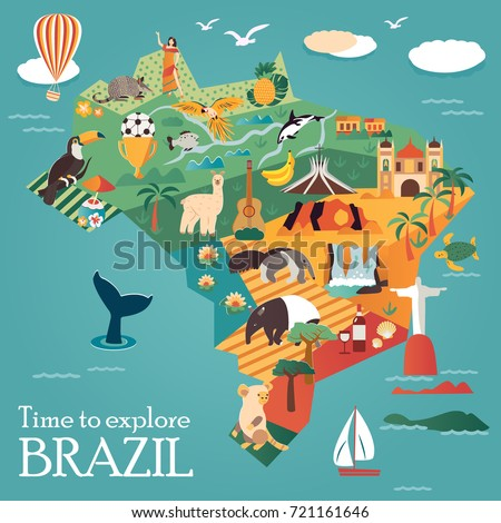 Tourist Map Brazil Landmarks Animals Can Stock Vector HD Royalty