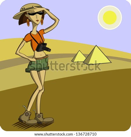Tourist on the background of the desert and pyramids - stock vector